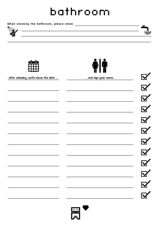 Free bathroom cleaning log just b cause for Bathroom templates